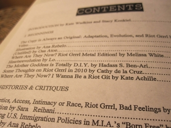 Table of contents (photo by Kate Achille)