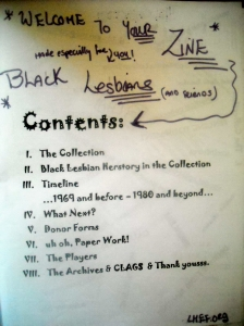 "Table of contents of ""Black Lesbians in the 70s Zine"""